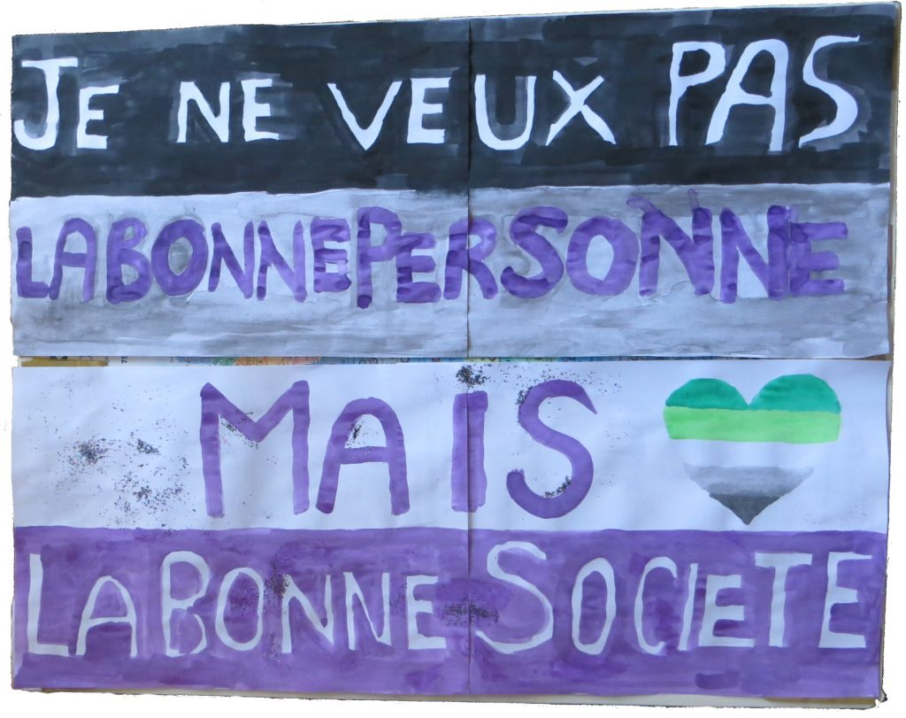 panneau avec drapeau asexuel sur le quel est écrit Je ne veux pas la bonne personne, mais la bonne société