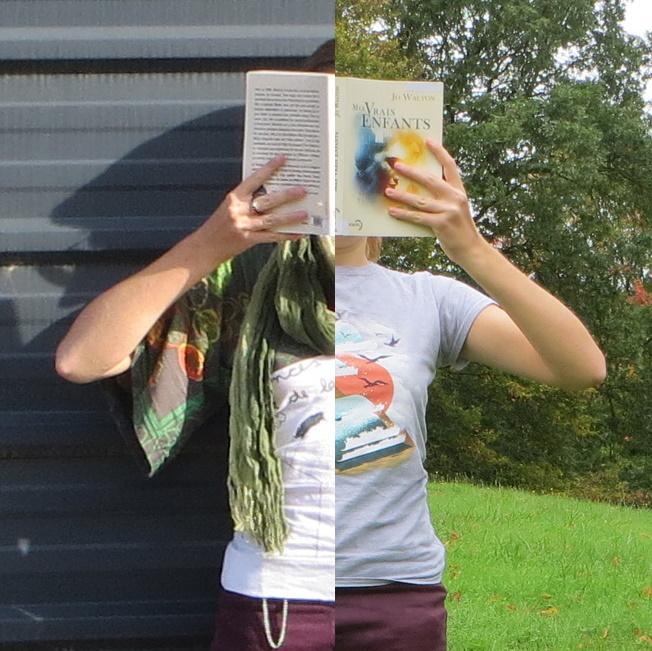 photo en 2 parties avec d'un côté une femme en t-shirt gris lisant mes vrais enfants devant une colline, de l'autre une femme en vert lisant devant un mur gris