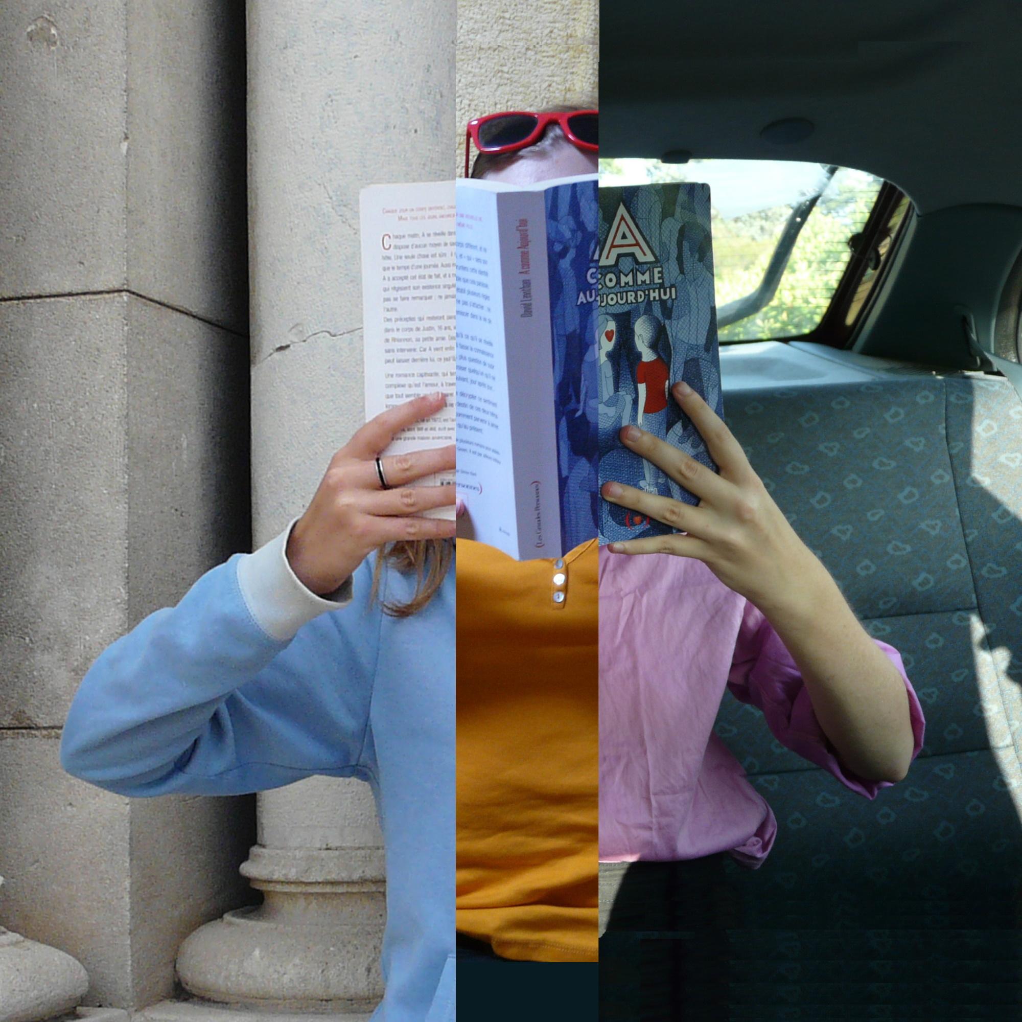 photo d'une personne en train de lire A comme aujourd'hui, en trois parties : à gauche elle est en pull bleu devant une église, au milieu elle est en débardeur jaune allongée sur une serviette jaune, à droite elle est en chemise rose dans une voiture
