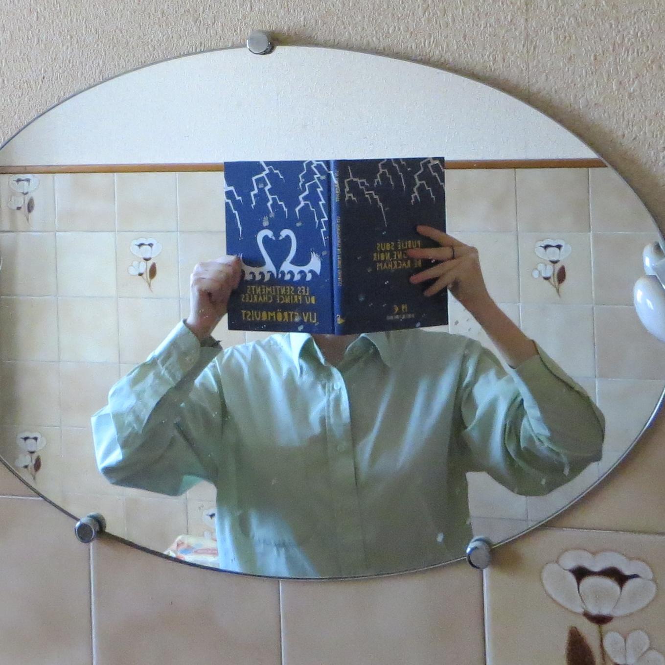 reflet dans un miroir de salle de bain d'une personne en chemise verte lisant les sentiments du prince Charles de Liv Stromquist