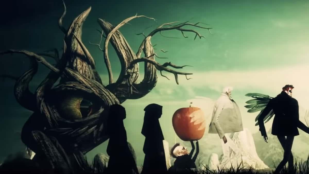 Extrait du générique de Good Omens, les personnages dessinés marchent en file