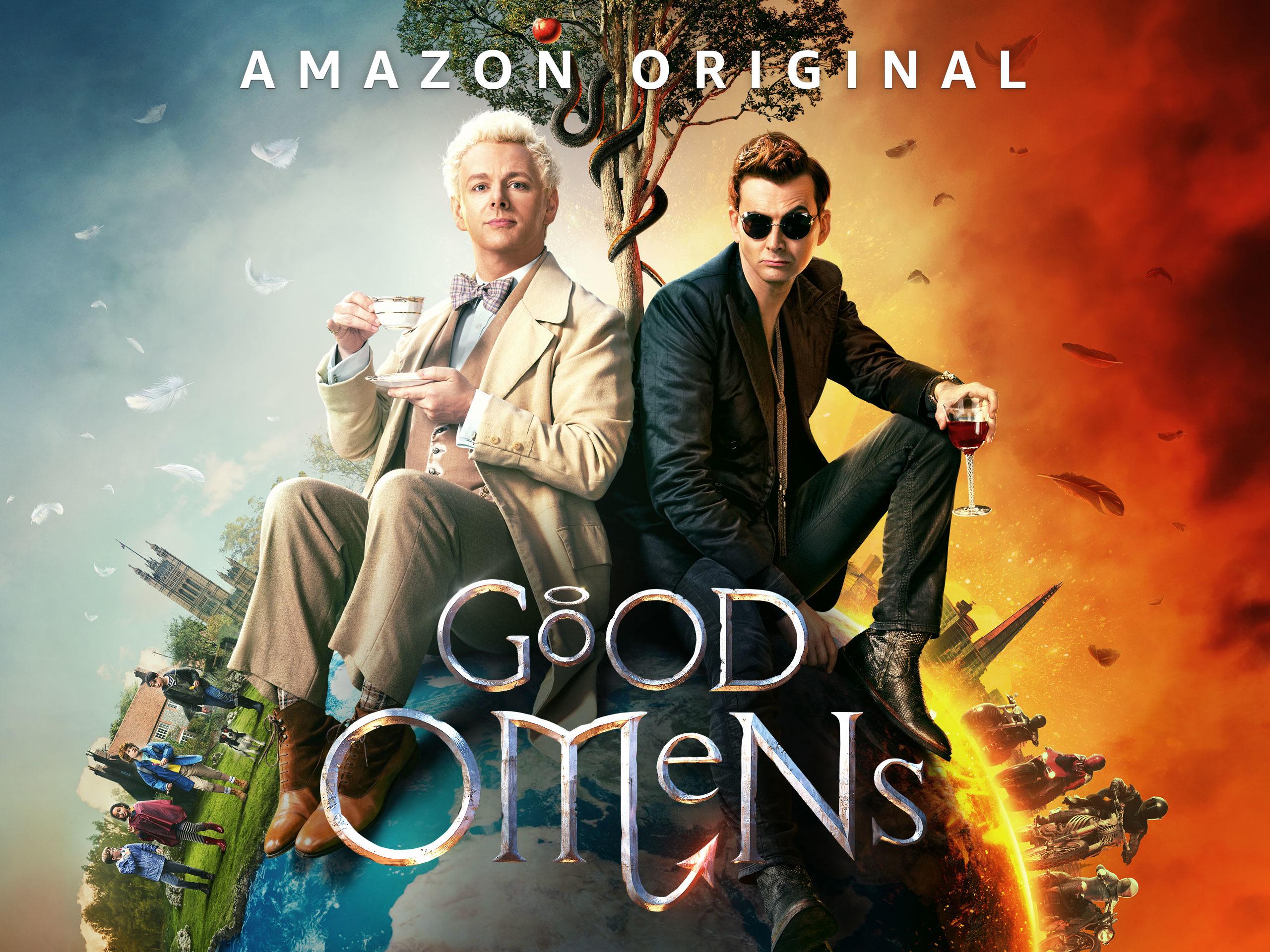 poster de la série Good Omens : l'ange Aziraphale et le démon Crowley sont assis côte à côte sur la planète Terre