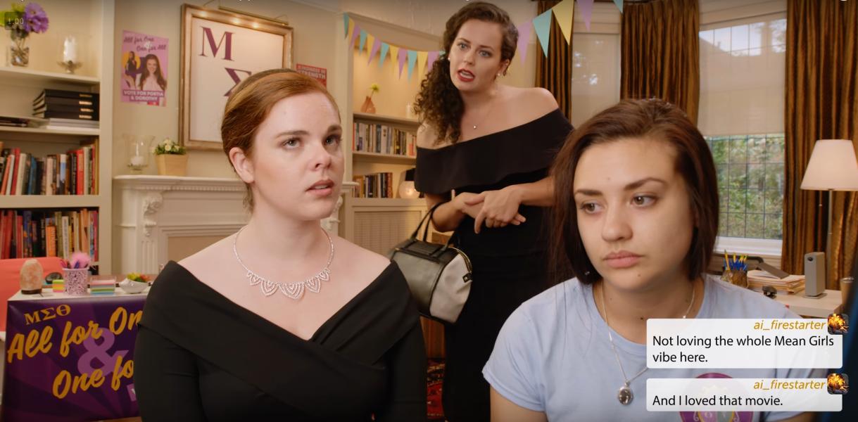 Dorothy a l'air épuisée, Portia lève les yeux au ciel et Anne les foudroient d'un air inquisiteur, tandis que le commentaire compare l'ambiance à celle de Mean Girls
