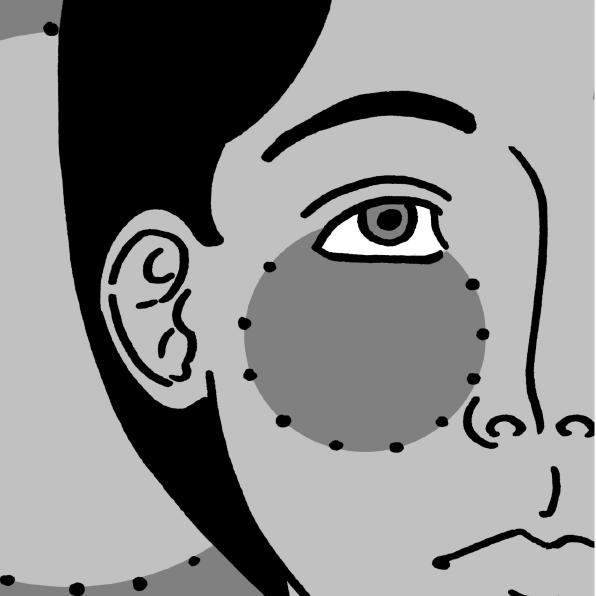 couverture du fanzine, quart de visage en noir et blanc