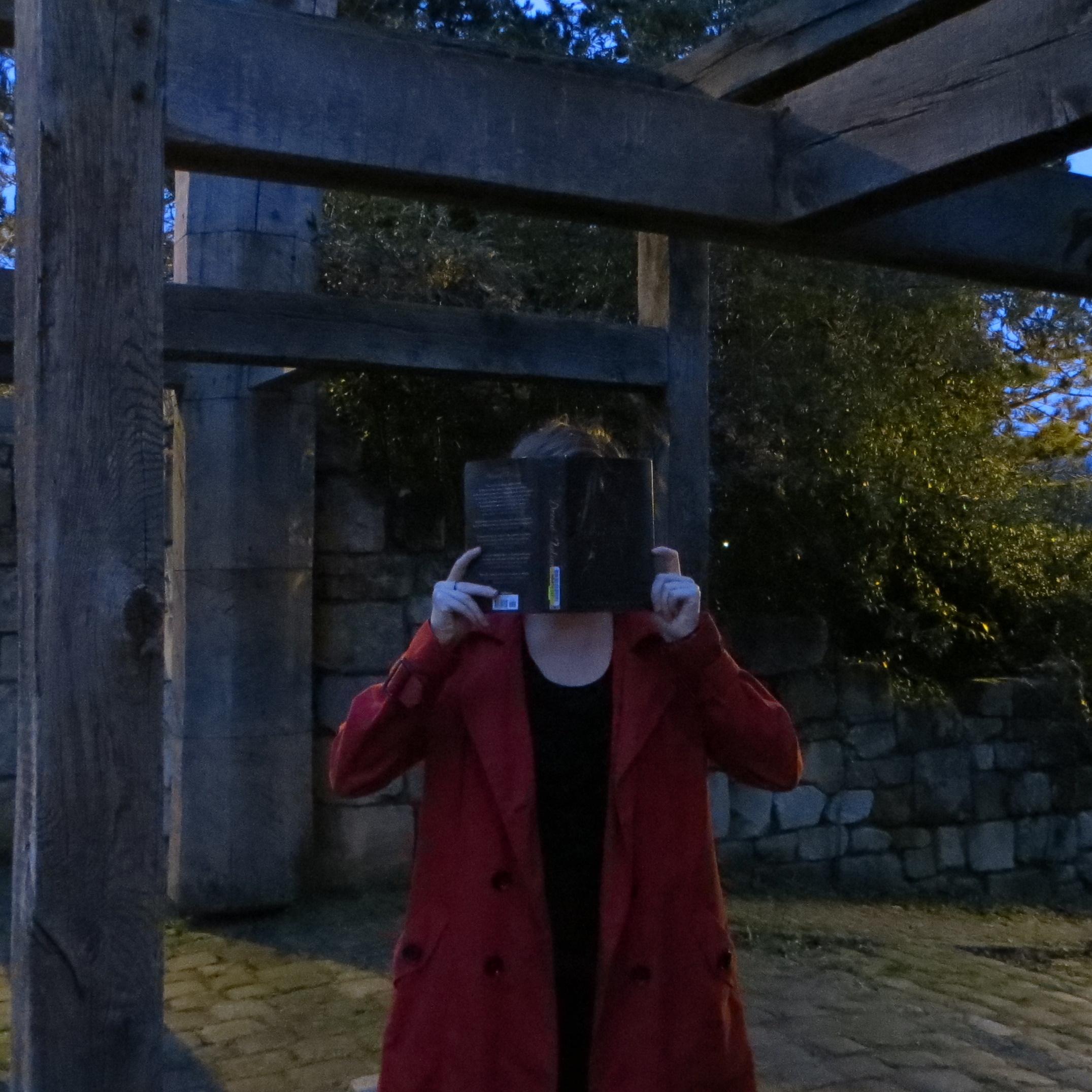 personne en parka rouge lisant Dread Nation de Justina Ireland de nuit, devant une structure de bois