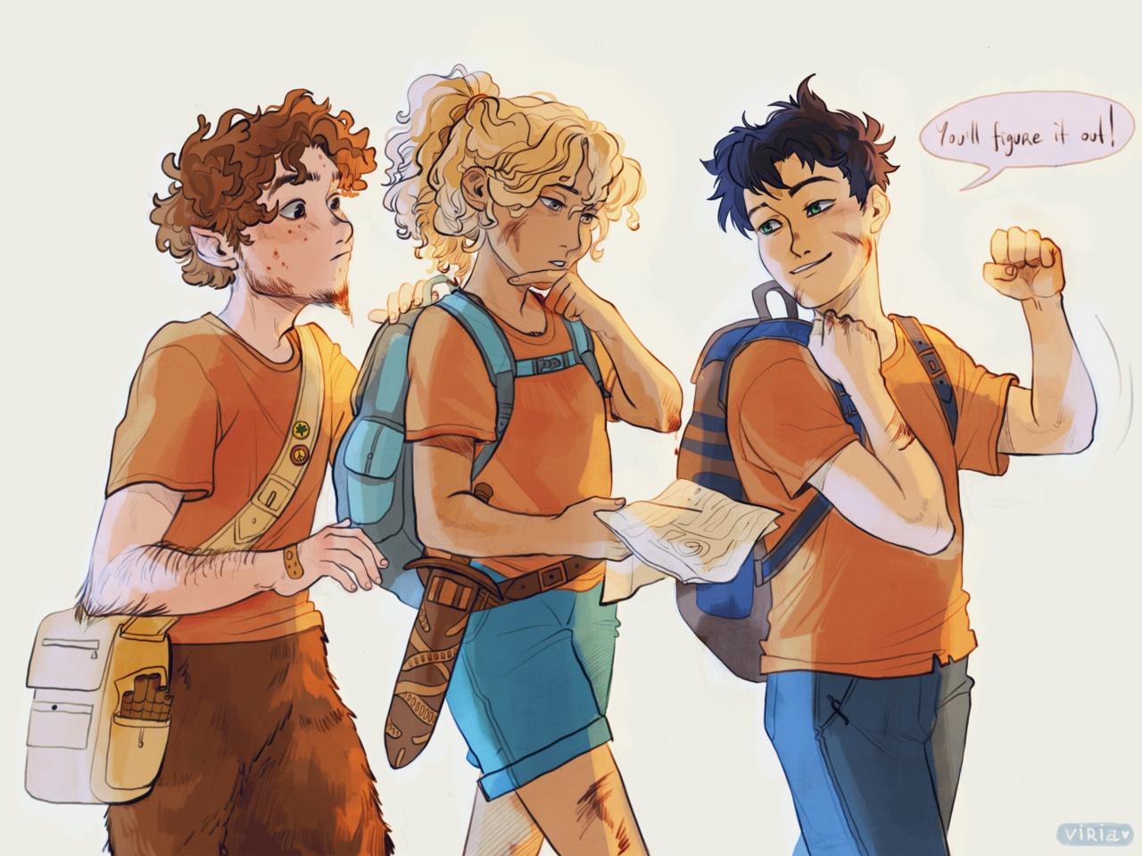 percy, grover et Annabeth dessinés par Viria