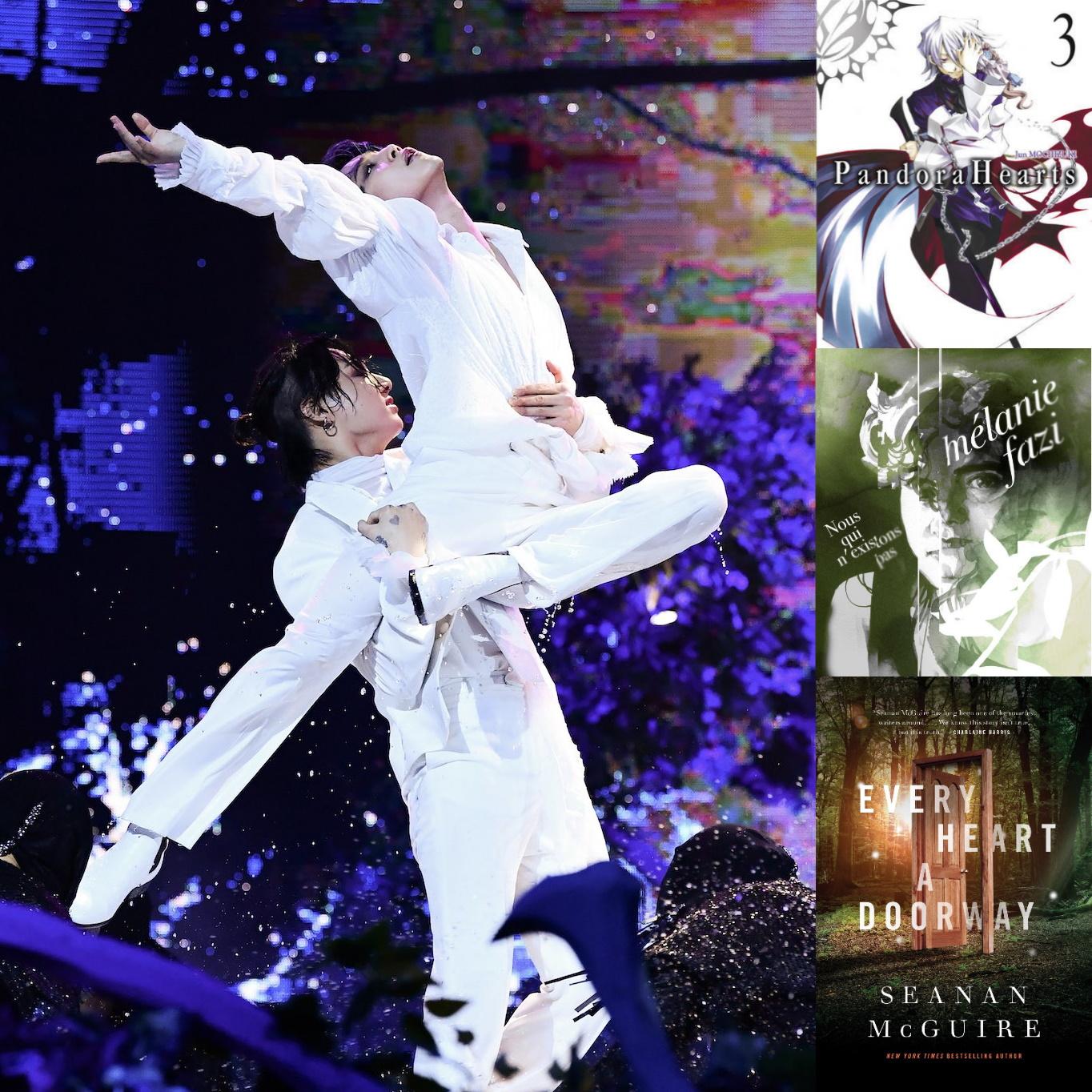 à gauche, Jimin et Jungkook font une figure de danse avec porté, dans l'eau, à droite, 3 couvertures de livres : pandora Hearts, nous qui n'existons pas, Every Heart a doorway
